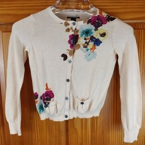 Lucky Brand Cotton Floral Print Cardigan